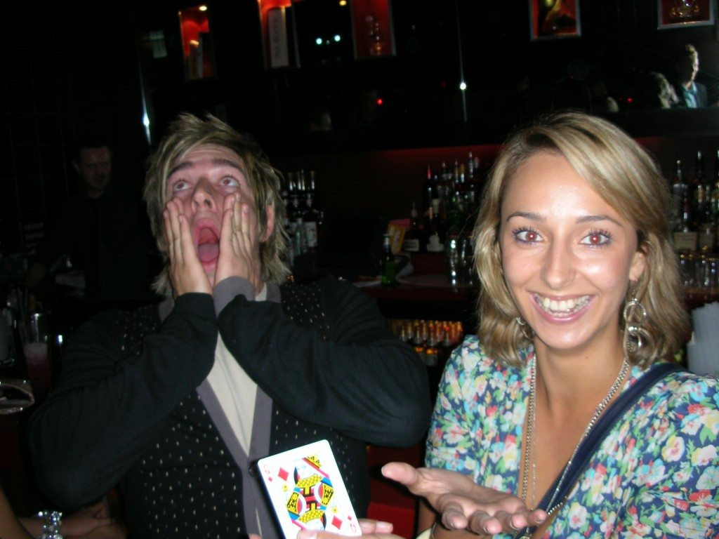 David performing a card trick in Sheffield